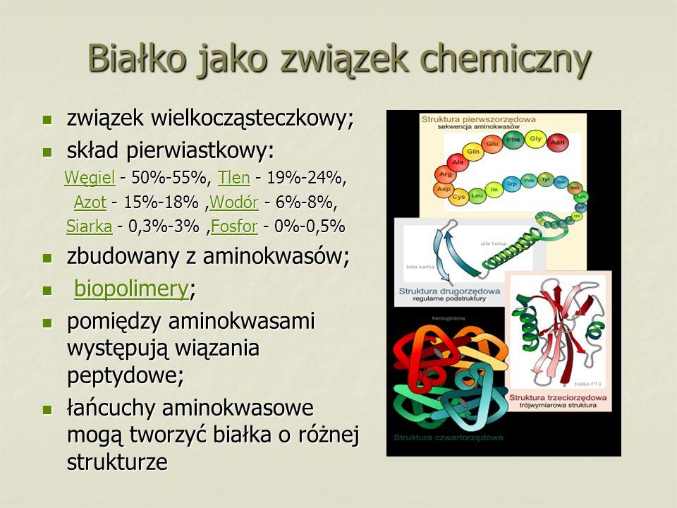 Białko jako związek chemiczny związek wielkocząsteczkowy; związek wielkocząsteczkowy; skład pierwiastkowy: skład pierwiastkowy: WęgielWęgiel - 50%-55%, Tlen - 19%-24%, Tlen WęgielTlen AzotAzot - 15%-18%,Wodór - 6%-8%, Wodór AzotWodór SiarkaSiarka - 0,3%-3%,Fosfor - 0%-0,5% Fosfor SiarkaFosfor zbudowany z aminokwasów; zbudowany z aminokwasów; biopolimery; biopolimery;biopolimery pomiędzy aminokwasami występują wiązania peptydowe; pomiędzy aminokwasami występują wiązania peptydowe; łańcuchy aminokwasowe mogą tworzyć białka o różnej strukturze łańcuchy aminokwasowe mogą tworzyć białka o różnej strukturze
