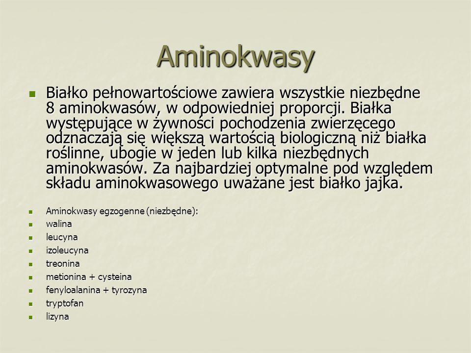 Aminokwasy Białko pełnowartościowe zawiera wszystkie niezbędne 8 aminokwasów, w odpowiedniej proporcji. Białka występujące w żywności pochodzenia zwie