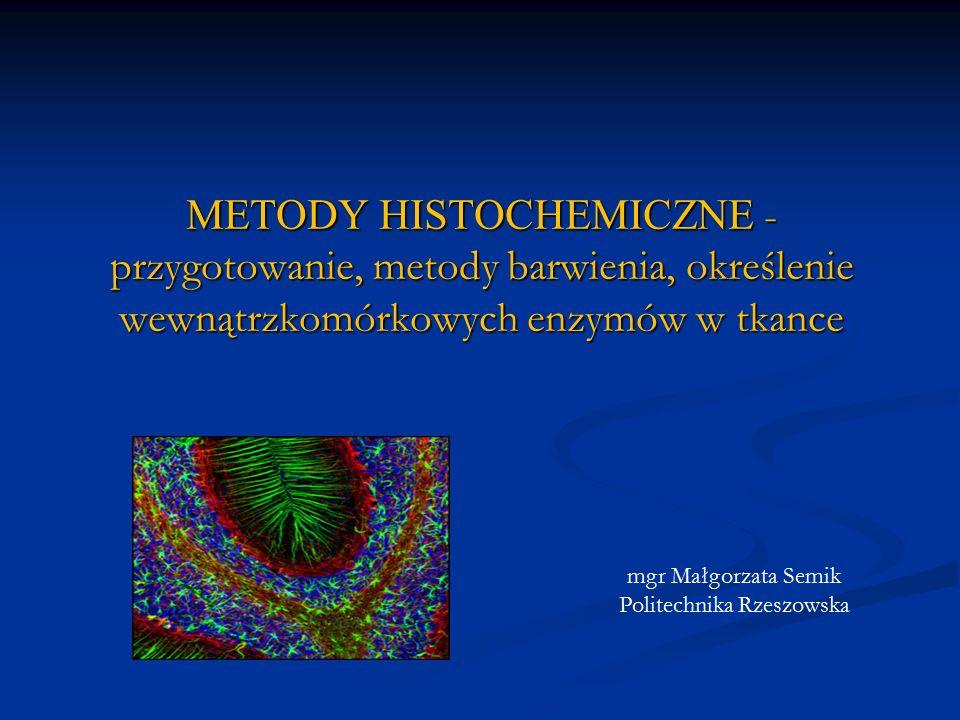 IDENTYFIKACJA ENZYMÓW Reakcja sprzęgania do związków azotowych Reakcja sprzęgania do związków azotowych Pod wpływem obecnego w tkance enzymu dochodzi do rozszczepienie substratu (zazwyczaj jest to pochodna naftolu) Pod wpływem obecnego w tkance enzymu dochodzi do rozszczepienie substratu (zazwyczaj jest to pochodna naftolu) Dochodzi do przekształcenia pochodnej naftolu w barwny i nierozpuszczalny produkt Dochodzi do przekształcenia pochodnej naftolu w barwny i nierozpuszczalny produkt Reakcja indygogenna Reakcja indygogenna Pod wpływem obecnego w tkance enzymu dochodzi do rozszczepienie substratu (zazwyczaj jest to pochodna indoksylu) Pod wpływem obecnego w tkance enzymu dochodzi do rozszczepienie substratu (zazwyczaj jest to pochodna indoksylu) Dochodzi do utleniania substratu, produkt reakcji ma zabarwienie indygo Dochodzi do utleniania substratu, produkt reakcji ma zabarwienie indygo