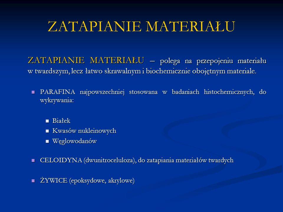 ZATAPIANIE MATERIAŁU ZATAPIANIE MATERIAŁU – polega na przepojeniu materiału w twardszym, lecz łatwo skrawalnym i biochemicznie obojętnym materiale.