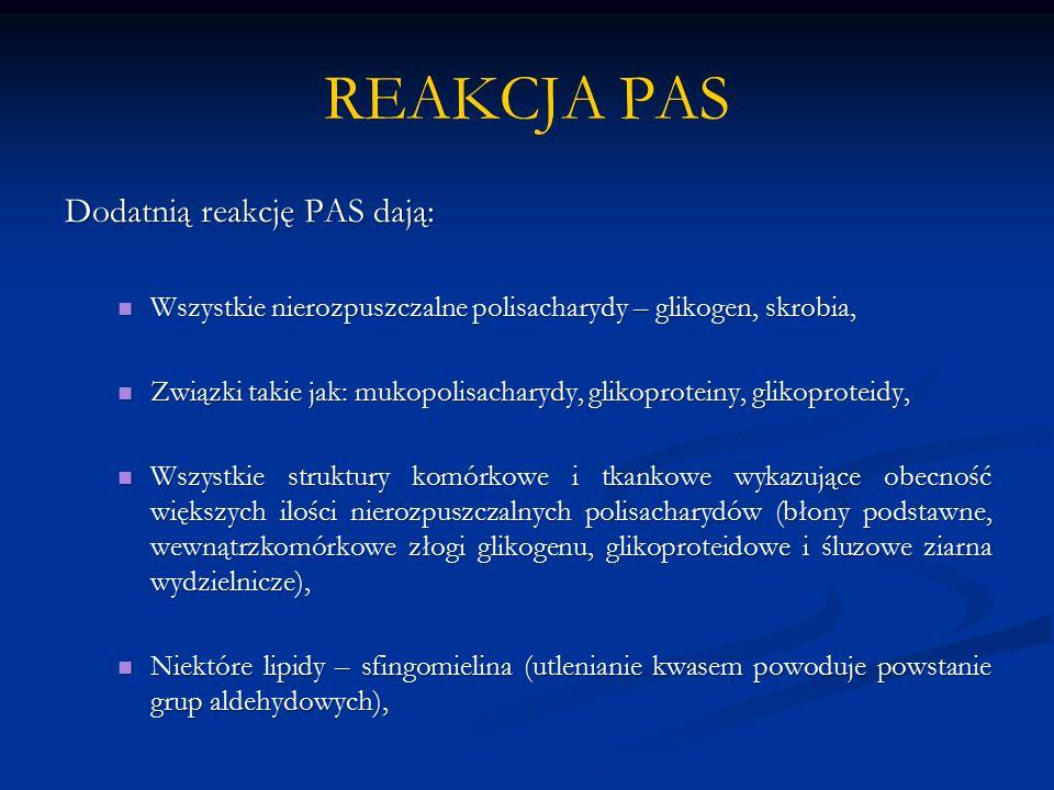 REAKCJA PAS Dodatnią reakcję PAS dają: Wszystkie nierozpuszczalne polisacharydy – glikogen, skrobia, Wszystkie nierozpuszczalne polisacharydy – glikogen, skrobia, Związki takie jak: mukopolisacharydy, glikoproteiny, glikoproteidy, Związki takie jak: mukopolisacharydy, glikoproteiny, glikoproteidy, Wszystkie struktury komórkowe i tkankowe wykazujące obecność większych ilości nierozpuszczalnych polisacharydów (błony podstawne, wewnątrzkomórkowe złogi glikogenu, glikoproteidowe i śluzowe ziarna wydzielnicze), Wszystkie struktury komórkowe i tkankowe wykazujące obecność większych ilości nierozpuszczalnych polisacharydów (błony podstawne, wewnątrzkomórkowe złogi glikogenu, glikoproteidowe i śluzowe ziarna wydzielnicze), Niektóre lipidy – sfingomielina (utlenianie kwasem powoduje powstanie grup aldehydowych), Niektóre lipidy – sfingomielina (utlenianie kwasem powoduje powstanie grup aldehydowych),