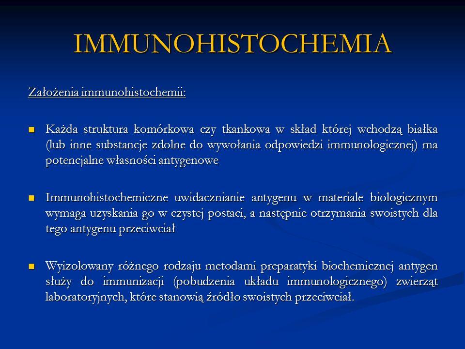 IMMUNOHISTOCHEMIA Założenia immunohistochemii: Każda struktura komórkowa czy tkankowa w skład której wchodzą białka (lub inne substancje zdolne do wywołania odpowiedzi immunologicznej) ma potencjalne własności antygenowe Każda struktura komórkowa czy tkankowa w skład której wchodzą białka (lub inne substancje zdolne do wywołania odpowiedzi immunologicznej) ma potencjalne własności antygenowe Immunohistochemiczne uwidacznianie antygenu w materiale biologicznym wymaga uzyskania go w czystej postaci, a następnie otrzymania swoistych dla tego antygenu przeciwciał Immunohistochemiczne uwidacznianie antygenu w materiale biologicznym wymaga uzyskania go w czystej postaci, a następnie otrzymania swoistych dla tego antygenu przeciwciał Wyizolowany różnego rodzaju metodami preparatyki biochemicznej antygen służy do immunizacji (pobudzenia układu immunologicznego) zwierząt laboratoryjnych, które stanowią źródło swoistych przeciwciał.