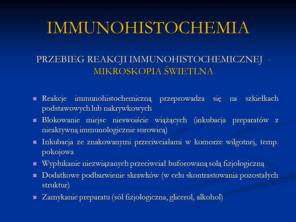 IMMUNOHISTOCHEMIA PRZEBIEG REAKCJI IMMUNOHISTOCHEMICZNEJ - MIKROSKOPIA ŚWIETLNA Reakcje immunohistochemiczną przeprowadza się na szkiełkach podstawowych lub nakrywkowych Reakcje immunohistochemiczną przeprowadza się na szkiełkach podstawowych lub nakrywkowych Blokowanie miejsc nieswoiście wiążących (inkubacja preparatów z nieaktywną immunologicznie surowicą) Blokowanie miejsc nieswoiście wiążących (inkubacja preparatów z nieaktywną immunologicznie surowicą) Inkubacja ze znakowanymi przeciwciałami w komorze wilgotnej, temp.