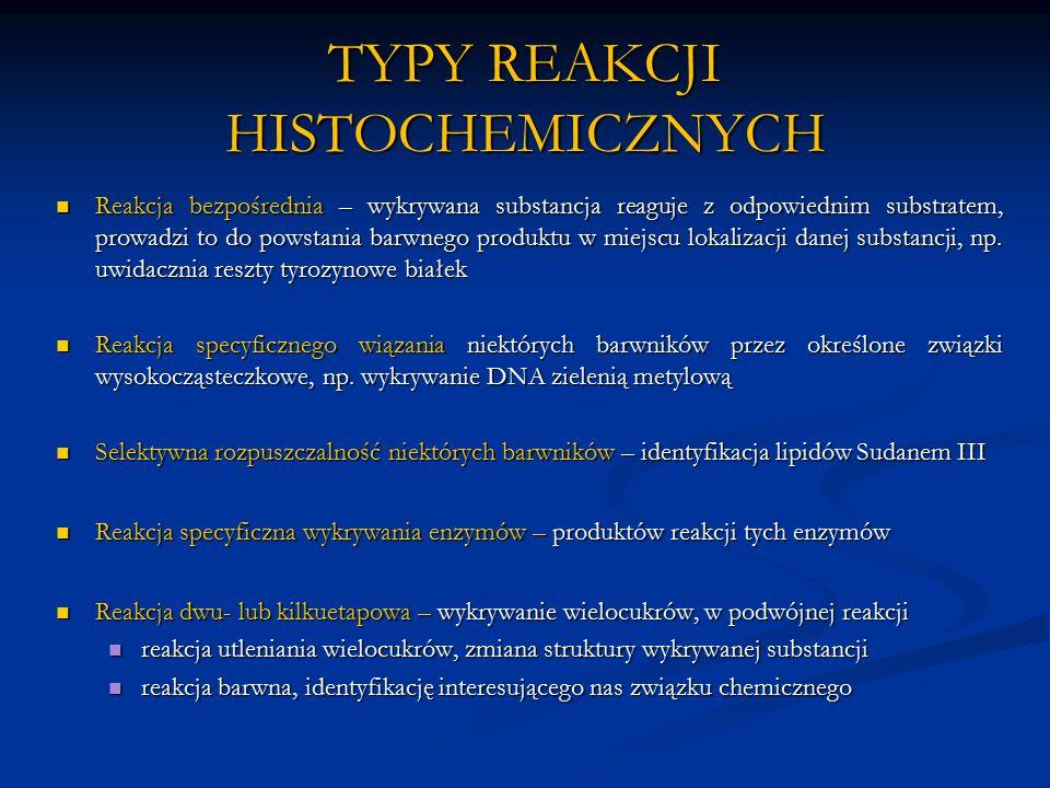 TYPY REAKCJI HISTOCHEMICZNYCH Reakcja bezpośrednia – wykrywana substancja reaguje z odpowiednim substratem, prowadzi to do powstania barwnego produktu w miejscu lokalizacji danej substancji, np.