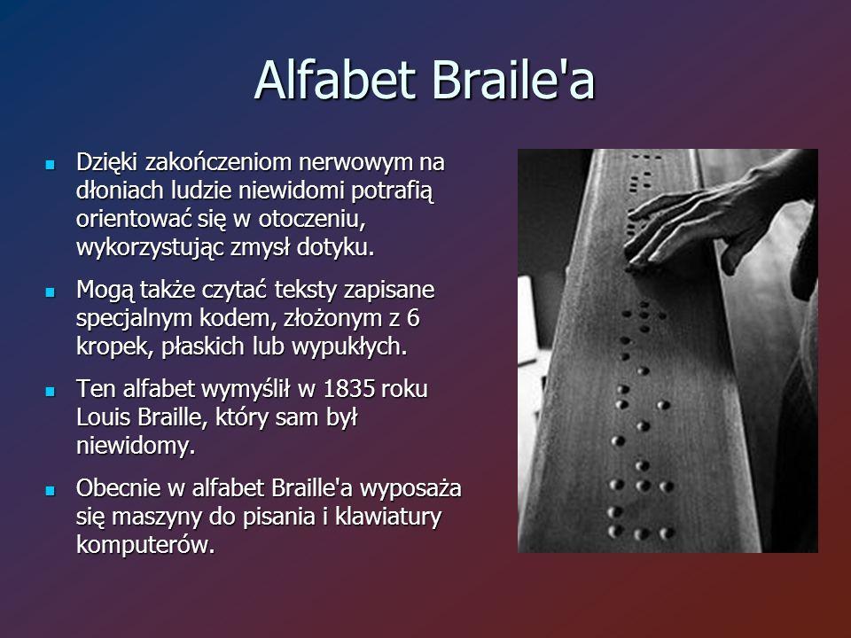 Alfabet Braile a Dzięki zakończeniom nerwowym na dłoniach ludzie niewidomi potrafią orientować się w otoczeniu, wykorzystując zmysł dotyku.