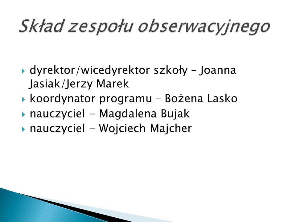  dyrektor/wicedyrektor szkoły – Joanna Jasiak/Jerzy Marek  koordynator programu – Bożena Lasko  nauczyciel - Magdalena Bujak  nauczyciel - Wojciec