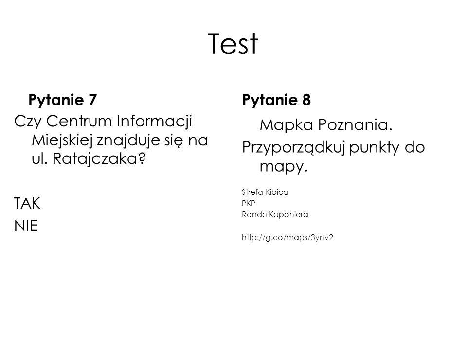 Test Pytanie 7 Czy Centrum Informacji Miejskiej znajduje się na ul. Ratajczaka? TAK NIE Pytanie 8 Mapka Poznania. Przyporządkuj punkty do mapy. Strefa
