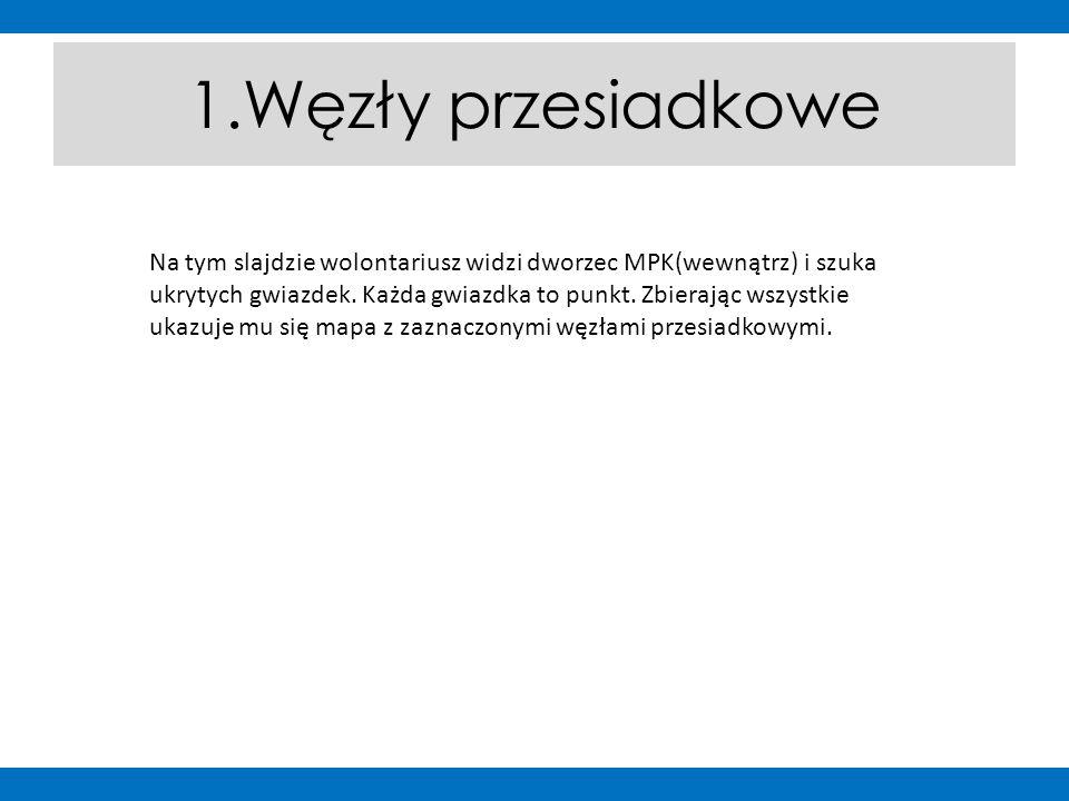 1.Węzły przesiadkowe Na tym slajdzie wolontariusz widzi dworzec MPK(wewnątrz) i szuka ukrytych gwiazdek.