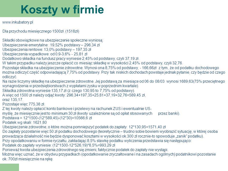 Koszty w firmie www.inkubatory.pl Dla przychodu miesięcznego 1500zł.