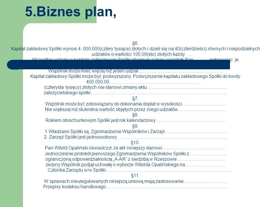 5.Biznes plan, §6. Kapitał zakładowy Spółki wynosi 4.
