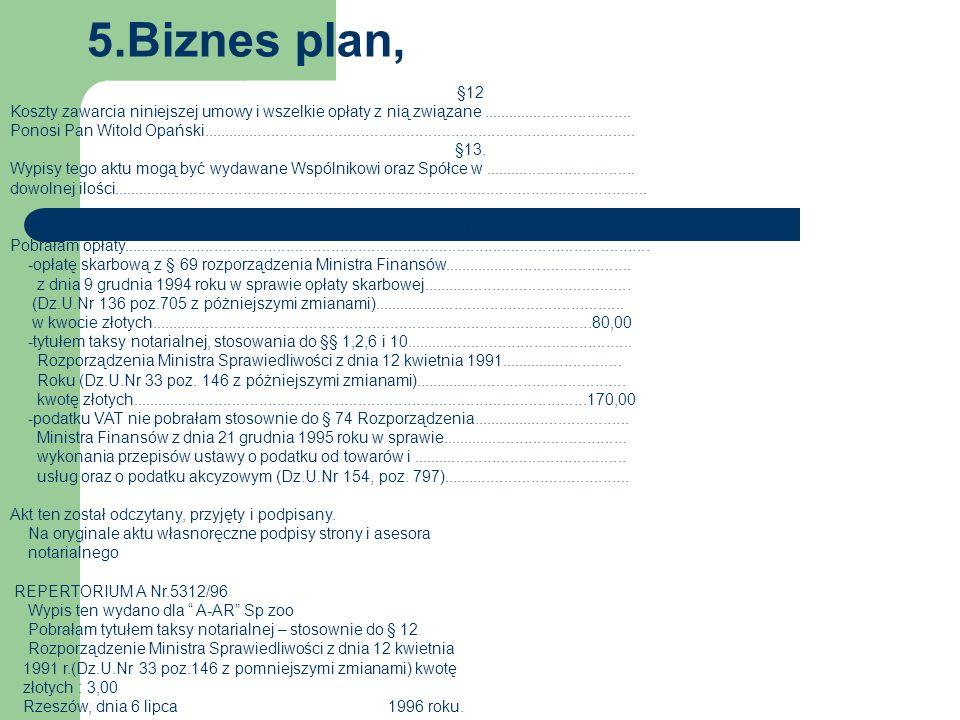 5.Biznes plan, §12 Koszty zawarcia niniejszej umowy i wszelkie opłaty z nią związane..................................