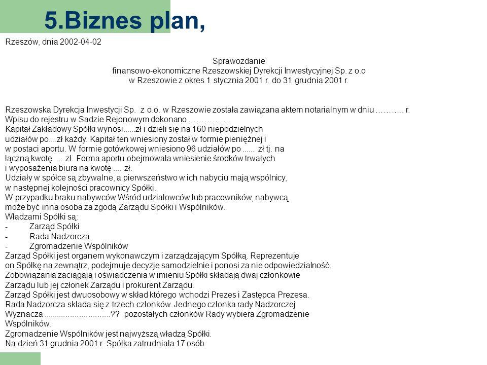 5.Biznes plan, Rzeszów, dnia 2002-04-02 Sprawozdanie finansowo-ekonomiczne Rzeszowskiej Dyrekcji Inwestycyjnej Sp.