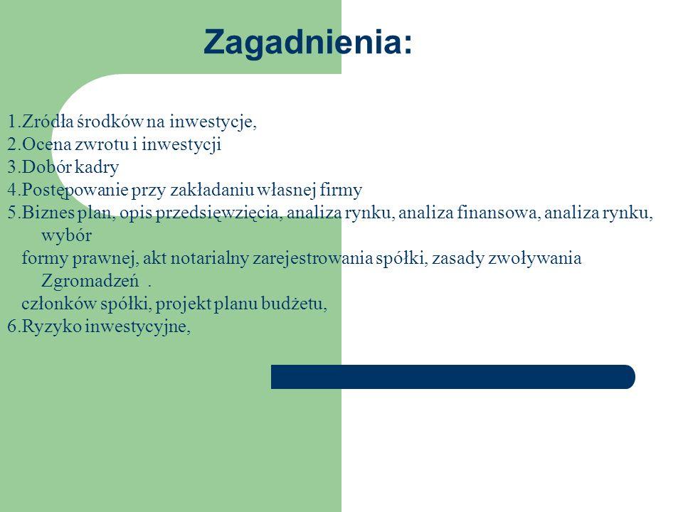 1.Gęślicki R., Atrakcyjność ekonomiczna, 2. Jędrzejewska K.,Krok po kroku do własnej firmy 3.