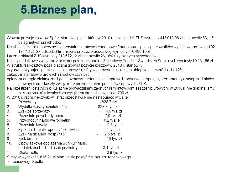 5.Biznes plan, Główną pozycję kosztów Spółki stanowią płace, które w 2010 r.