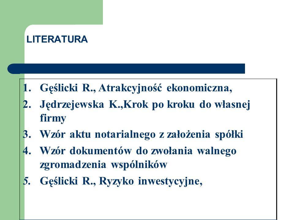 1. Gęślicki R., Atrakcyjność ekonomiczna, 2. Jędrzejewska K.,Krok po kroku do własnej firmy 3.