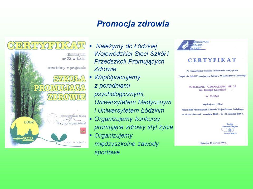 Promocja zdrowia  Należymy do Łódzkiej Wojewódzkiej Sieci Szkół i Przedszkoli Promujących Zdrowie  Współpracujemy z poradniami psychologicznymi, Uniwersytetem Medycznym i Uniwersytetem Łódzkim  Organizujemy konkursy promujące zdrowy styl życia  Organizujemy międzyszkolne zawody sportowe