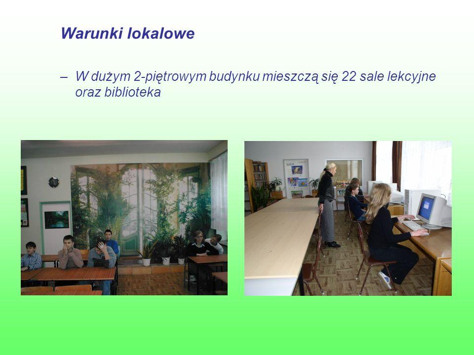 Warunki lokalowe –W dużym 2-piętrowym budynku mieszczą się 22 sale lekcyjne oraz biblioteka