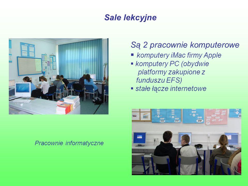 Sale lekcyjne Pracownie informatyczne Są 2 pracownie komputerowe  komputery iMac firmy Apple  komputery PC (obydwie platformy zakupione z funduszu EFS)  stałe łącze internetowe
