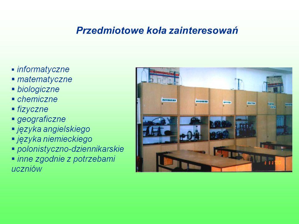 Przedmiotowe koła zainteresowań  informatyczne  matematyczne  biologiczne  chemiczne  fizyczne  geograficzne  języka angielskiego  języka niemieckiego  polonistyczno-dziennikarskie  inne zgodnie z potrzebami uczniów