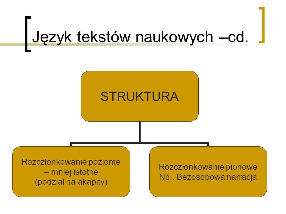 Język tekstów naukowych –cd. STRUKTURA Rozczłonkowanie poziome – mniej istotne (podział na akapity) Rozczłonkowanie pionowe Np.. Bezosobowa narracja