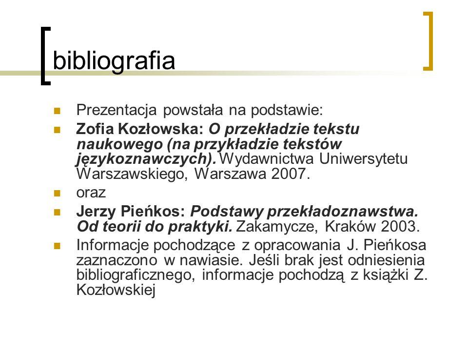 bibliografia Prezentacja powstała na podstawie: Zofia Kozłowska: O przekładzie tekstu naukowego (na przykładzie tekstów językoznawczych). Wydawnictwa