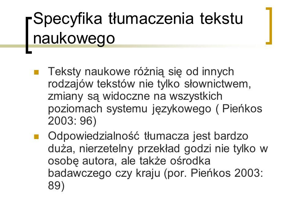 Typologia przekładu tekstów specjalistycznych I.