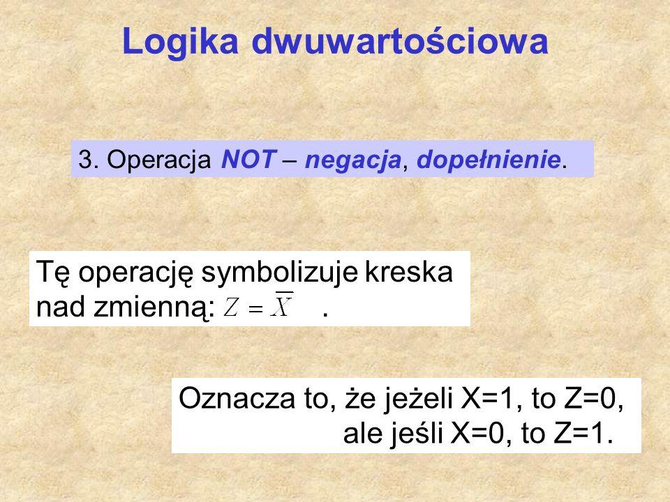 Logika dwuwartościowa Tę operację symbolizuje kreska nad zmienną:. Oznacza to, że jeżeli X=1, to Z=0, ale jeśli X=0, to Z=1. 3. Operacja NOT – negacja