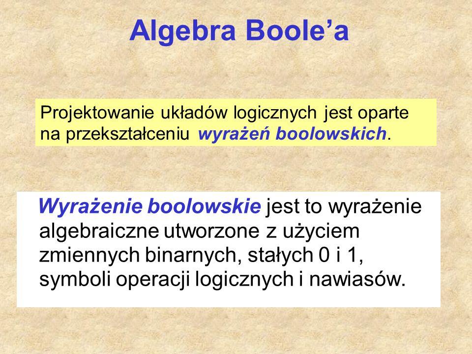 Algebra Boole'a Wyrażenie boolowskie jest to wyrażenie algebraiczne utworzone z użyciem zmiennych binarnych, stałych 0 i 1, symboli operacji logicznyc