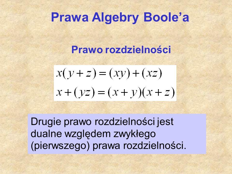Prawo rozdzielności Prawa Algebry Boole'a Drugie prawo rozdzielności jest dualne względem zwykłego (pierwszego) prawa rozdzielności.