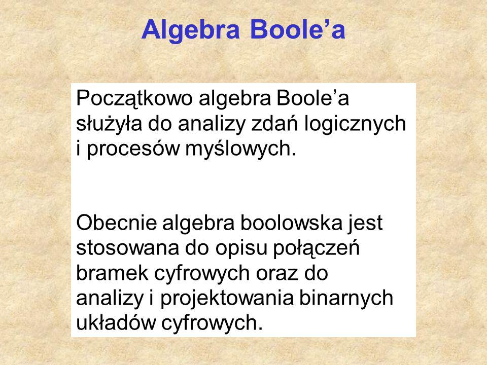 Algebra Boole'a Początkowo algebra Boole'a służyła do analizy zdań logicznych i procesów myślowych. Obecnie algebra boolowska jest stosowana do opisu