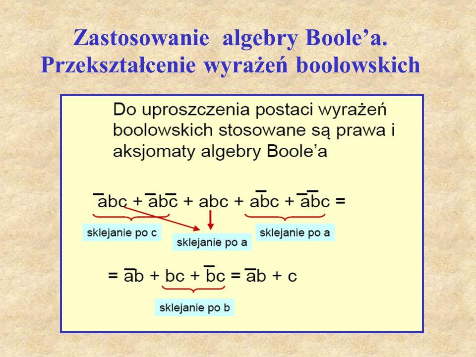 Zastosowanie algebry Boole'a. Przekształcenie wyrażeń boolowskich