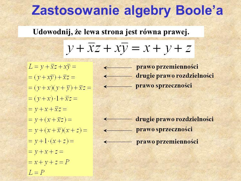 Udowodnij, że lewa strona jest równa prawej. prawo przemienności drugie prawo rozdzielności prawo sprzeczności prawo przemienności Zastosowanie algebr
