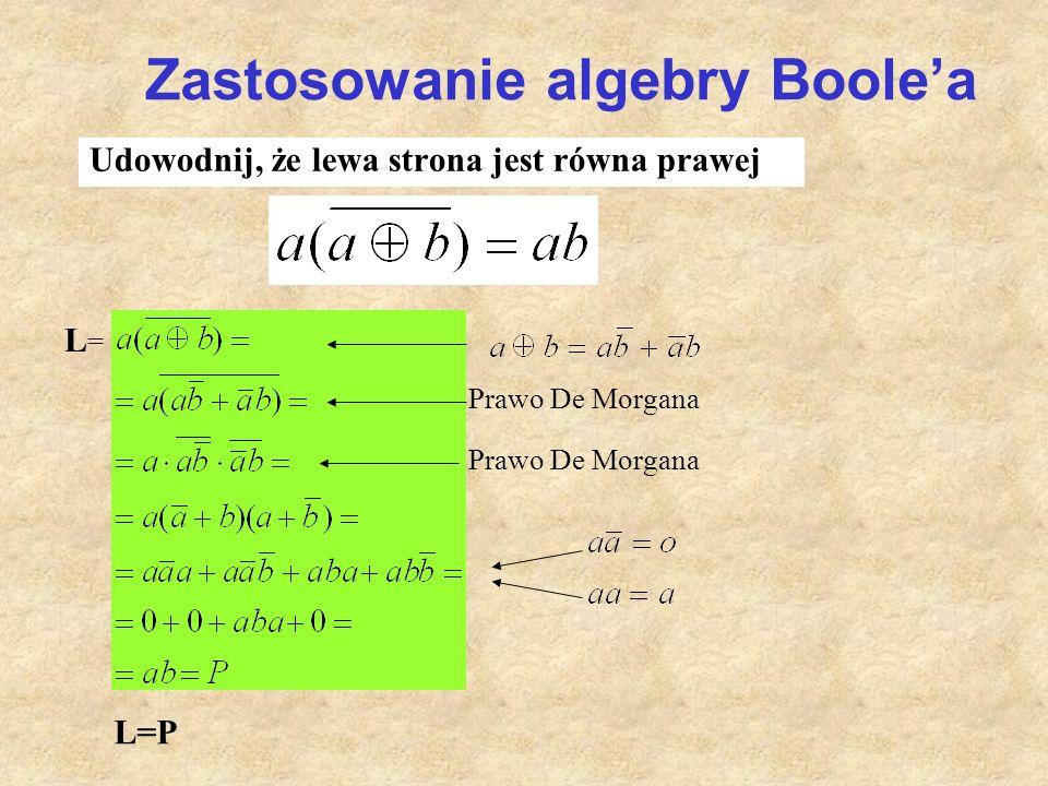 Zastosowanie algebry Boole'a Udowodnij, że lewa strona jest równa prawej L=L= L=P Prawo De Morgana