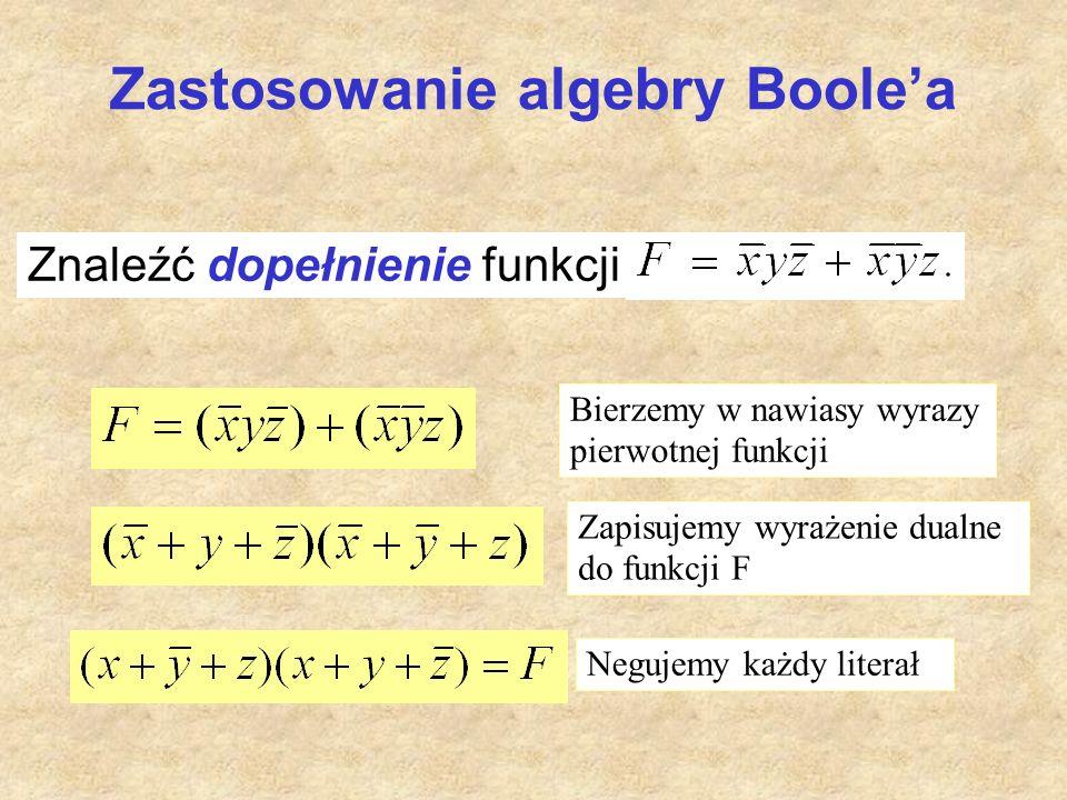 Zastosowanie algebry Boole'a Znaleźć dopełnienie funkcji Bierzemy w nawiasy wyrazy pierwotnej funkcji Zapisujemy wyrażenie dualne do funkcji F Negujem