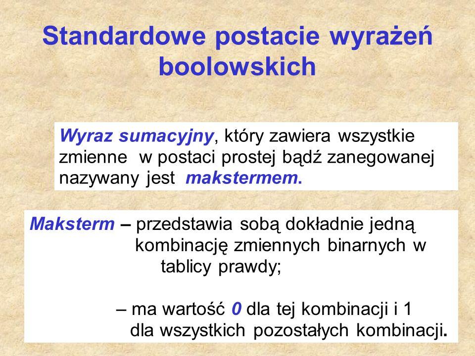Standardowe postacie wyrażeń boolowskich Wyraz sumacyjny, który zawiera wszystkie zmienne w postaci prostej bądź zanegowanej nazywany jest makstermem.