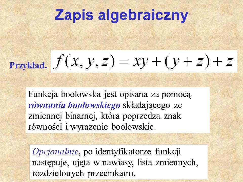 Zapis algebraiczny Funkcja boolowska jest opisana za pomocą równania boolowskiego składającego ze zmiennej binarnej, która poprzedza znak równości i w