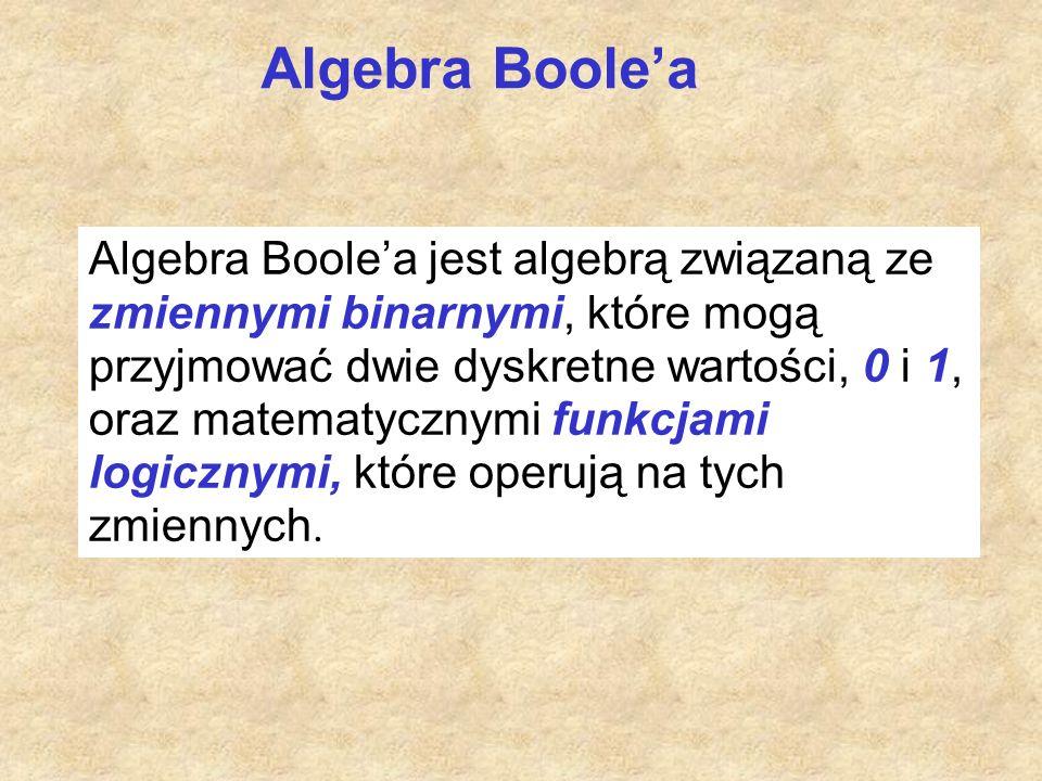 Algebra Boole'a Algebra Boole'a jest algebrą związaną ze zmiennymi binarnymi, które mogą przyjmować dwie dyskretne wartości, 0 i 1, oraz matematycznym