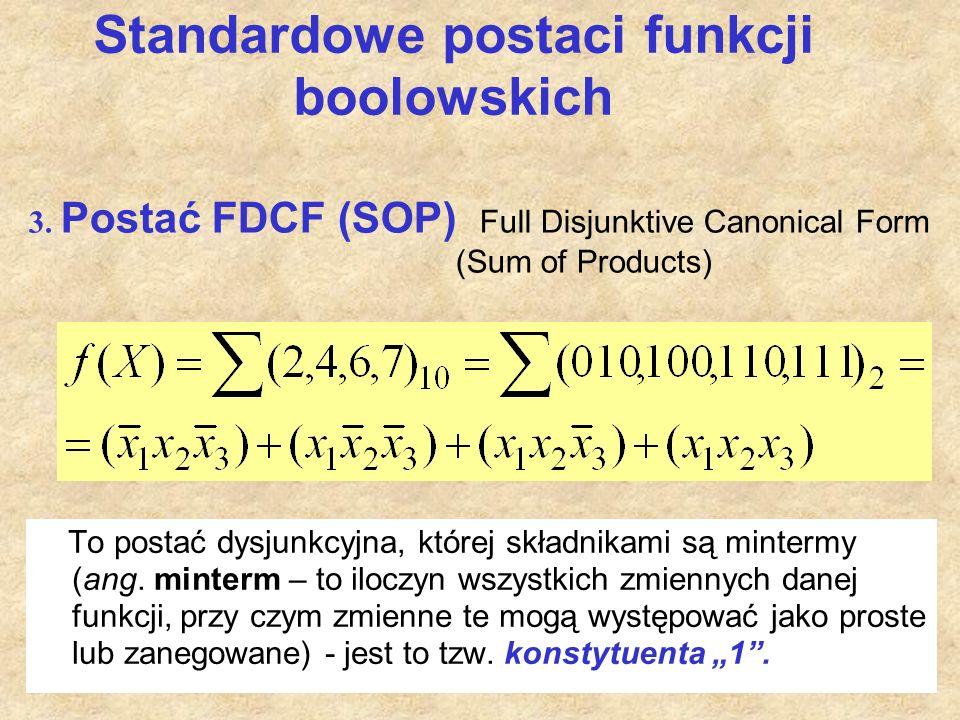 Standardowe postaci funkcji boolowskich To postać dysjunkcyjna, której składnikami są mintermy (ang. minterm – to iloczyn wszystkich zmiennych danej f