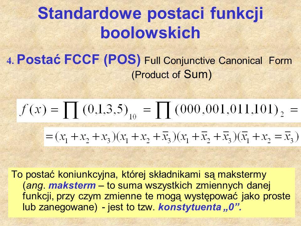 Standardowe postaci funkcji boolowskich To postać koniunkcyjna, której składnikami są makstermy (ang. maksterm – to suma wszystkich zmiennych danej fu