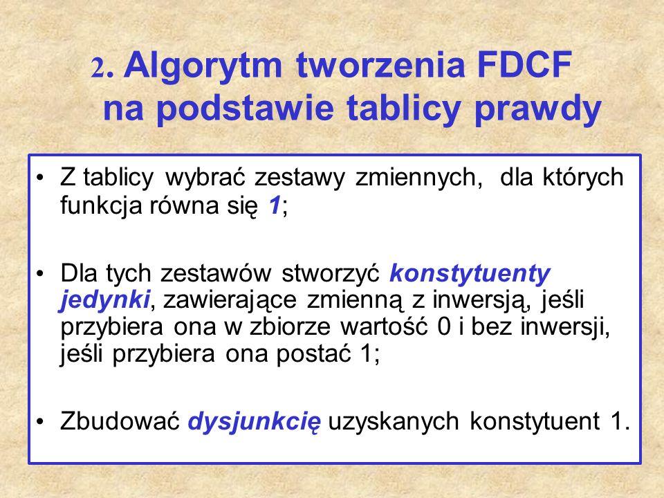 2. Algorytm tworzenia FDCF na podstawie tablicy prawdy Z tablicy wybrać zestawy zmiennych, dla których funkcja równa się 1; Dla tych zestawów stworzyć