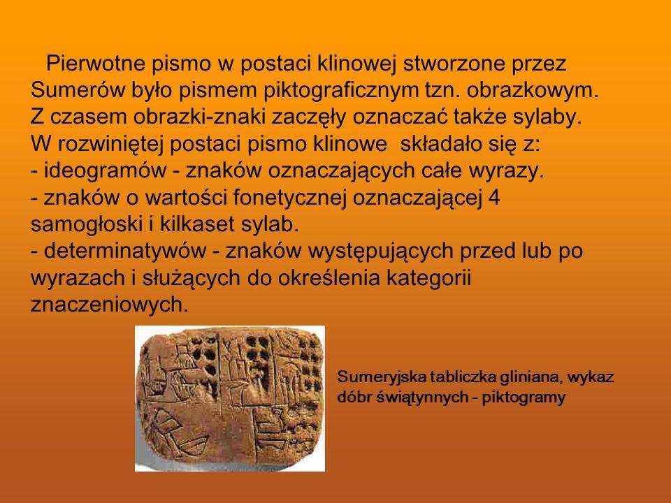 Pierwotne pismo w postaci klinowej stworzone przez Sumerów było pismem piktograficznym tzn. obrazkowym. Z czasem obrazki-znaki zaczęły oznaczać także