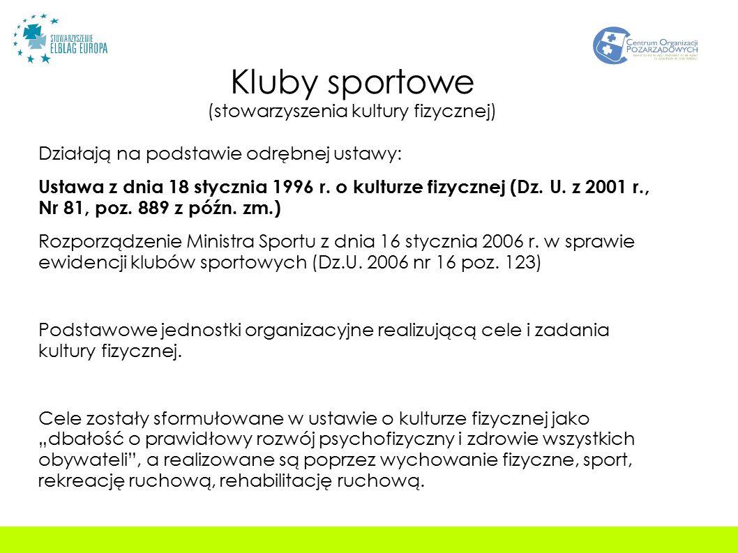 Kluby sportowe (stowarzyszenia kultury fizycznej) Działają na podstawie odrębnej ustawy: Ustawa z dnia 18 stycznia 1996 r.