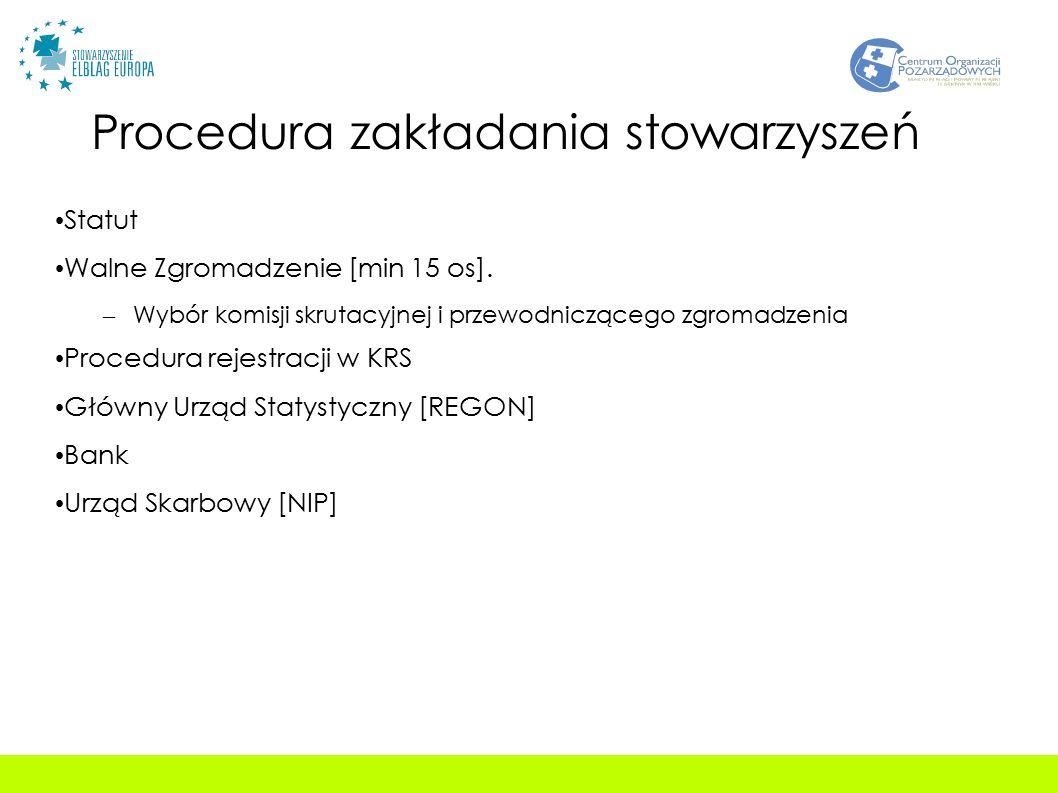 Procedura zakładania stowarzyszeń Statut Walne Zgromadzenie [min 15 os].