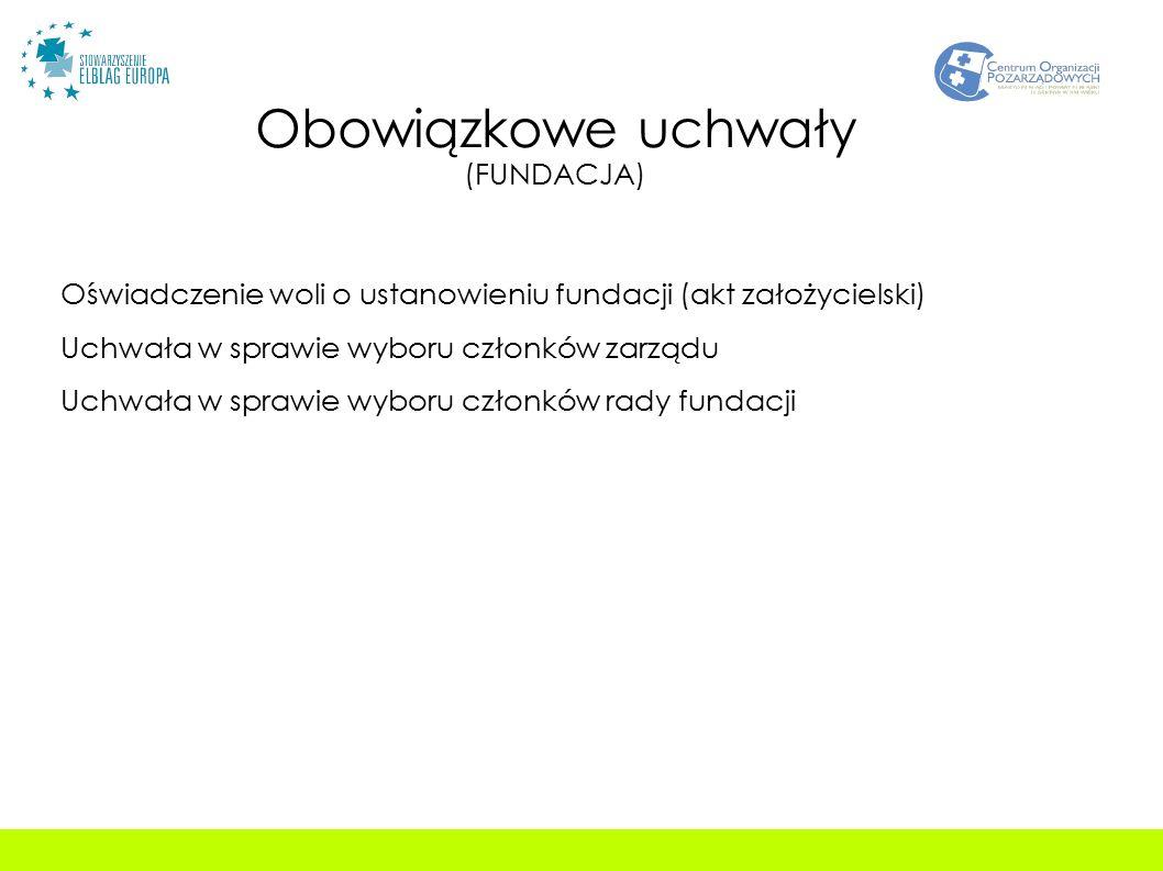 Obowiązkowe uchwały (FUNDACJA) Oświadczenie woli o ustanowieniu fundacji (akt założycielski) Uchwała w sprawie wyboru członków zarządu Uchwała w sprawie wyboru członków rady fundacji