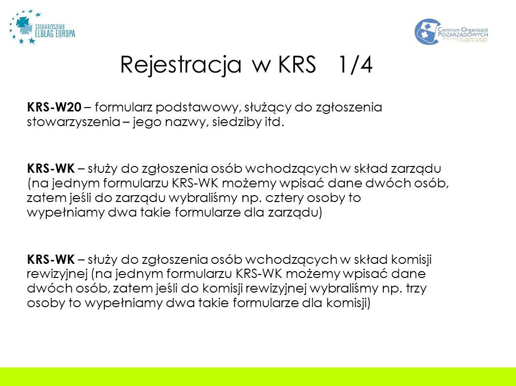 Rejestracja w KRS 1/4 KRS-W20 – formularz podstawowy, służący do zgłoszenia stowarzyszenia – jego nazwy, siedziby itd.