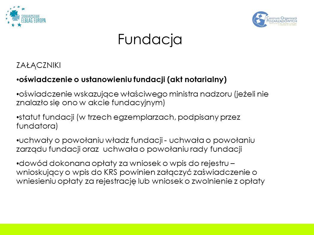 Fundacja ZAŁĄCZNIKI oświadczenie o ustanowieniu fundacji (akt notarialny) oświadczenie wskazujące właściwego ministra nadzoru (jeżeli nie znalazło się ono w akcie fundacyjnym) statut fundacji (w trzech egzemplarzach, podpisany przez fundatora) uchwały o powołaniu władz fundacji - uchwała o powołaniu zarządu fundacji oraz uchwała o powołaniu rady fundacji dowód dokonana opłaty za wniosek o wpis do rejestru – wnioskujący o wpis do KRS powinien załączyć zaświadczenie o wniesieniu opłaty za rejestrację lub wniosek o zwolnienie z opłaty