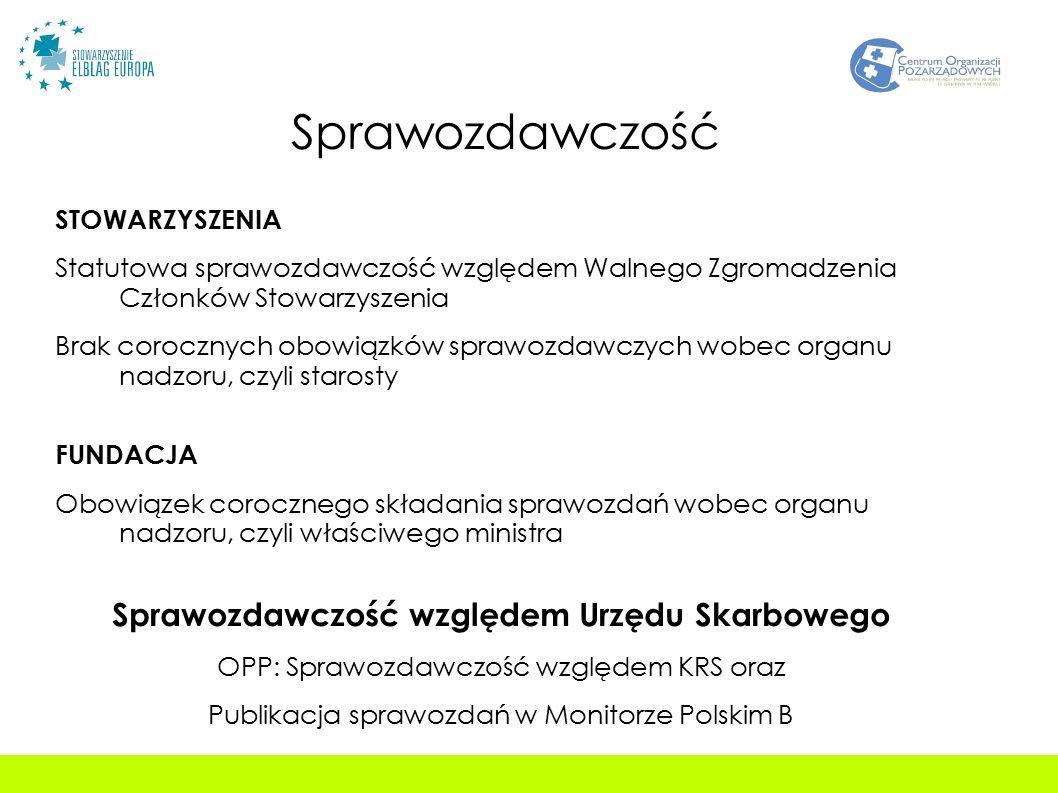Sprawozdawczość STOWARZYSZENIA Statutowa sprawozdawczość względem Walnego Zgromadzenia Członków Stowarzyszenia Brak corocznych obowiązków sprawozdawczych wobec organu nadzoru, czyli starosty FUNDACJA Obowiązek corocznego składania sprawozdań wobec organu nadzoru, czyli właściwego ministra Sprawozdawczość względem Urzędu Skarbowego OPP: Sprawozdawczość względem KRS oraz Publikacja sprawozdań w Monitorze Polskim B