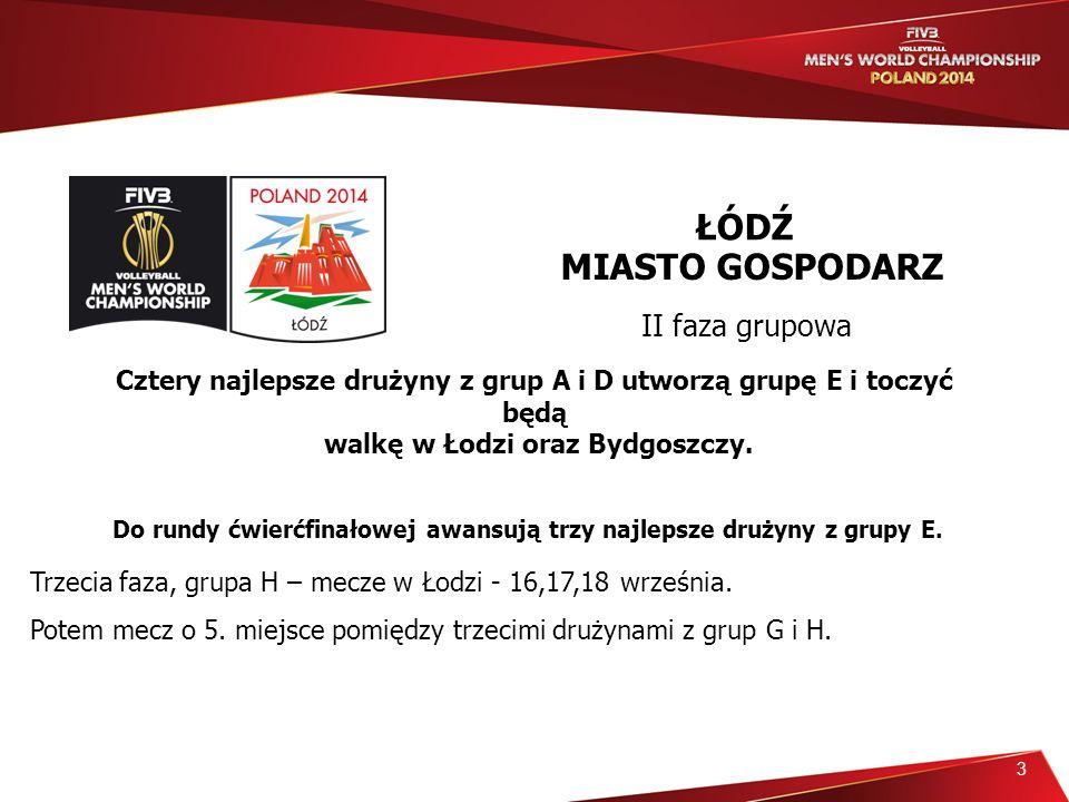 3 Cztery najlepsze drużyny z grup A i D utworzą grupę E i toczyć będą walkę w Łodzi oraz Bydgoszczy.