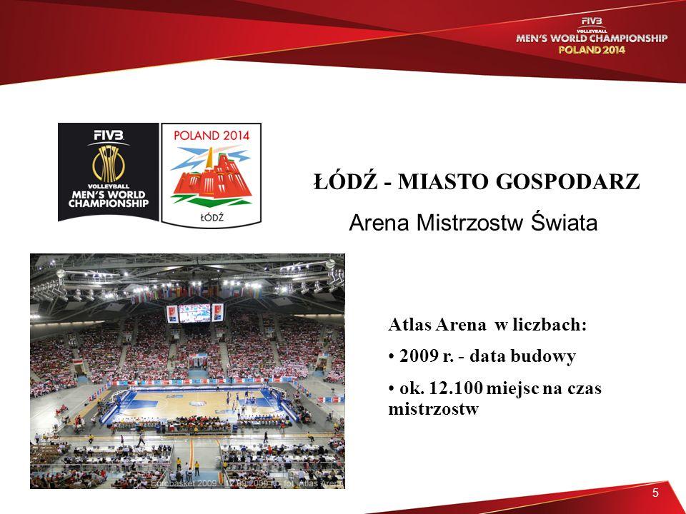 5 ŁÓDŹ - MIASTO GOSPODARZ Arena Mistrzostw Świata Atlas Arena w liczbach: 2009 r.