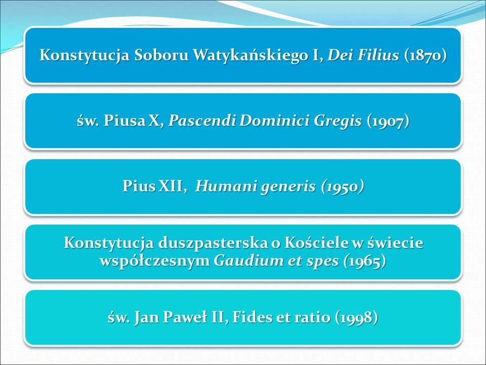 Konstytucja Soboru Watykańskiego I, Dei Filius (1870) św. Piusa X, Pascendi Dominici Gregis (1907) Pius XII, Humani generis (1950) Konstytucja duszpas